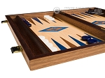 picture of 15-inch Walnut and Oak Backgammon Set - Blue (4 of 11)