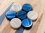 picture of 15-inch Walnut and Oak Backgammon Set - Blue (6 of 11)