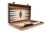picture of 15-inch Walnut and Oak Backgammon Set - Blue (9 of 11)