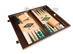 picture of 15-inch Walnut and Oak Backgammon Set - Green (2 of 11)