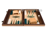 picture of 15-inch Walnut and Oak Backgammon Set - Green (4 of 12)