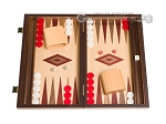 15-inch Walnut and Oak Backgammon Set - Red - Item: 2846
