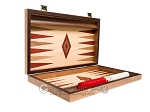 picture of 15-inch Walnut and Oak Backgammon Set - Red (10 of 12)