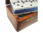 DOUBLE 6 Two-Tone Blue + White Dominoes Set - With Spinners - Wood Box