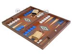 picture of 19-inch Mahogany Backgammon Set - Blue (3 of 12)