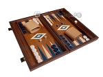15-inch Mahogany Backgammon Set - Blue