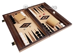 picture of 15-inch Ebony Zebrano Backgammon Set - Oak Field (2 of 12)