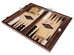 15-inch Ebony Zebrano Backgammon Set - Oak Field - Item: 2898