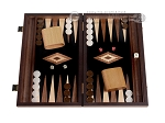 15-inch Walnut Root Backgammon Set - Black Field - Item: 2881