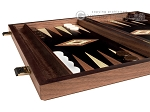 15-inch Walnut Root Backgammon Set - Black Field