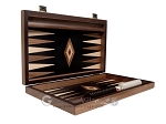picture of 15-inch Walnut Root Backgammon Set - Black Field (10 of 12)