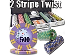 picture of 8gram Stripe Twist Clay Poker Chips - Aluminum Case - Silver - 300 Chips (1 of 5)