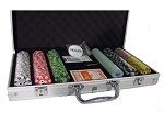 picture of 8gram Stripe Twist Clay Poker Chips - Aluminum Case - Silver - 300 Chips (3 of 5)