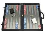 Dal Negro Composite Fiber Backgammon Set - Calypso Blue with Grey Field - Item: 2719