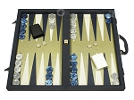 Dal Negro Composite Fiber/Leatherette Backgammon Set - Calypso Blue with Gold Field - Item: 2717
