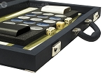 picture of Dal Negro Composite Fiber/Leatherette Backgammon Set - Calypso Blue with Gold Field (7 of 10)