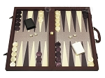 Dal Negro Composite Fiber/Leatherette Backgammon Set - Bordeaux - Item: 2718