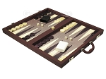 picture of Dal Negro Composite Fiber/Leatherette Backgammon Set - Bordeaux (3 of 10)
