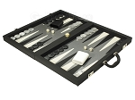 picture of Dal Negro Composite Fiber/Leatherette Backgammon Set - Black (3 of 10)