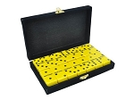 DOUBLE 6 Yellow Dominoes Set - With Spinners - Velvet Box - Item: 3090