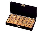 DOUBLE 6 Gold Dominoes Set - Velvet Box - Item: 3088