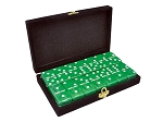 DOUBLE 6 Green Dominoes Set - With Spinners - Velvet Box - Item: 3089