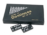 DOUBLE 6 Dominoes Black Tiles with White Dots in Black Vinyl Case - Item: 2263