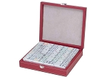 DOUBLE 12 Dominoes Set in Black and Red Leatherette Case - Item: 3202