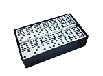 DOUBLE 9 White Dominoes Set - With Spinners - Arcadian Black Box - Item: 3093