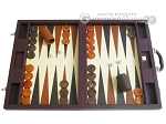 Dal Negro Eco Leather Backgammon Set - Brown - Item: 2381