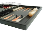 Black Backgammon Set with Racks - Peach