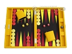 Hector Saxe Faux Lizard Travel Backgammon Set - Yellow - Item: 2490