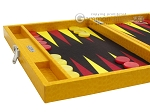 Hector Saxe Faux Lizard Travel Backgammon Set - Yellow
