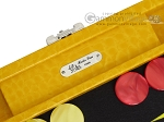 picture of Hector Saxe Faux Lizard Travel Backgammon Set - Yellow (7 of 12)