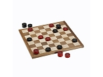 Classic Checkers Set - Red & Black Pieces with Solid Walnut & Maple Wood Board 11.5 in. (Made in USA)