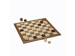Classic Checkers Set - Dark Brown & Natural Pieces with Solid Walnut & Maple Wood Board 18 in. (Made in USA) - Item: 4037