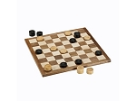 Classic Checkers Set - Black & Natural Pieces with Solid Walnut & Maple Wood Board 11.5 in. (Made in USA)