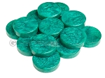 Backgammon Checkers - Mother Of Pearl - Plastic - Emerald Green (1 3/4 in. Dia.) - Roll of 15 - Item: 2806