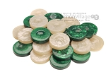Backgammon Checkers - High Gloss Acrylic - Green & Ivory (1 1/2in. Dia.) - Set of 30 - Item: 2615
