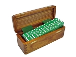DOUBLE 6 Green Dominoes Set - With Spinners - Wood Box - Item: 3161