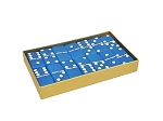DOUBLE 6 Frosted Sapphire Blue Dominoes Set - Gold Gift Box - Item: 3165
