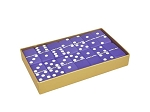 DOUBLE 6 Frosted Purple Amethyst Dominoes Set - Gold Gift Box