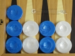 Backgammon Checkers - High Gloss Marbleized Plastic - Blue - Set of 30