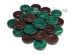 Backgammon Checkers - High Gloss Acrylic - Brown & Green (1 1/2in. Dia.) - Set of 30 - Item: 2616