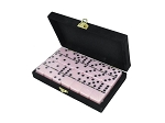 DOUBLE 6 Pink Dominoes Set - With Spinners - Velvet Box