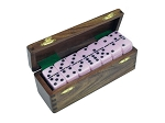 DOUBLE 6 Pink Dominoes Set - With Spinners - Wood Box