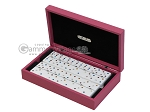 Double 6 Swarovski Colored Crystal Dominoes Set - Pink Leather Case - Item: 2476