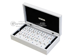 Double 6 Swarovski Colored Crystal Dominoes Set - White Croco Case - Item: 2475