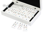 Double 6 Swarovski Colored Crystal Dominoes Set - White Croco Case
