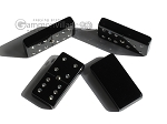 Double 6 Swarovski Crystal Black Dominoes Set - White Croco Case